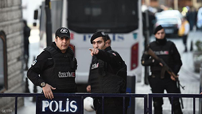 Turkish police cordon off the Blue Mosque area on January 12, 2016 after a blast in Istanbul's tourist hub of Sultanahmet left 10 people dead. Ten people were killed and 15 wounded in a suspected terrorist attack on January 12 in the main tourist hub of Turkey's largest city Istanbul, officials said. A powerful blast rocked the Sultanahmet neighbourhood which is home to Istanbul's biggest concentration of monuments and and is visited by tens of thousands of tourists every day.  / AFP / OZAN KOSE        (Photo credit should read OZAN KOSE/AFP/Getty Images)